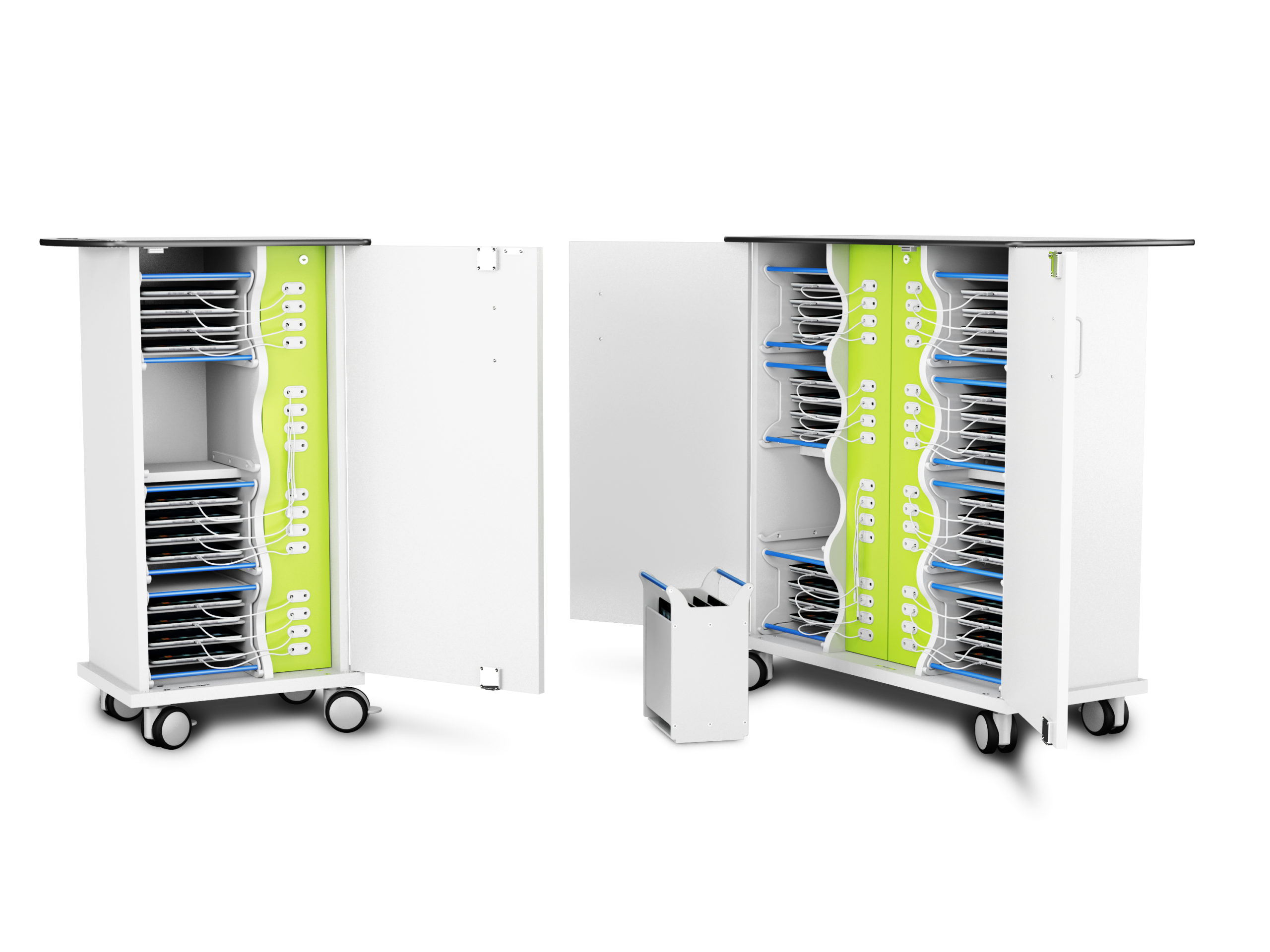 ipad tablet charging trolley with baskets secure and stylish cart