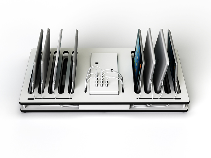 charge and sync desktop shelf multi dock for iPads and USB tablets