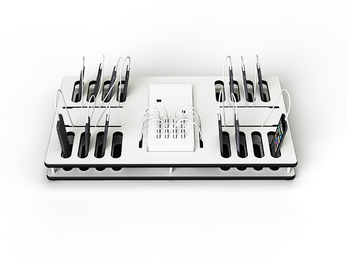 sync power dock for 16 iPods and smartphones for charging and data sync upload