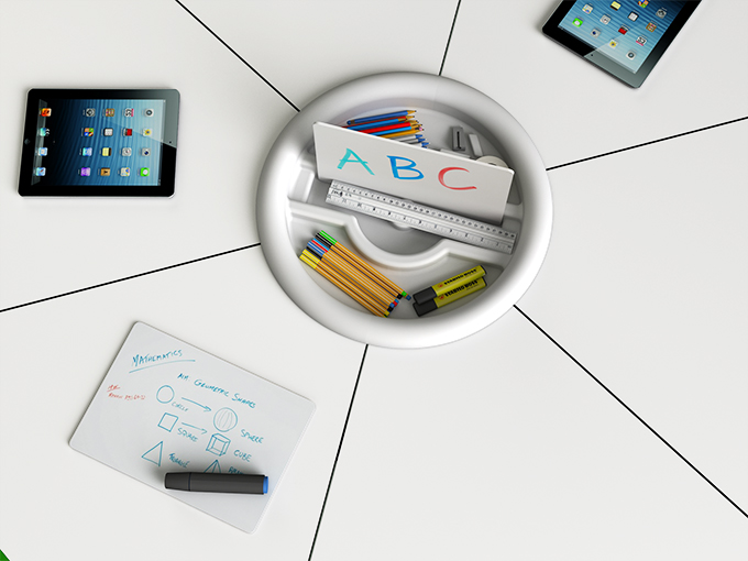 t41 table roundel tray for stationery and whiteboard