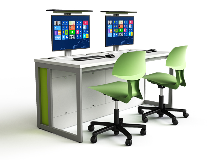 M1 computer desk with pop up monitors in raised position