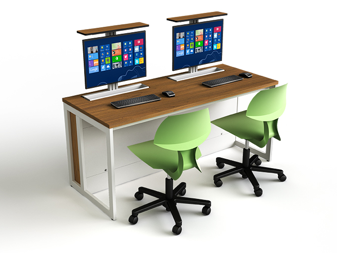 M1 computer desk with wood finish