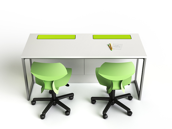 M1 desk with integrated computers and displays hidden away