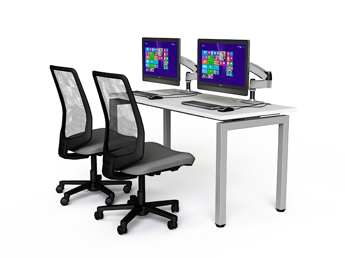 two person it desking with monitor arms and chairs