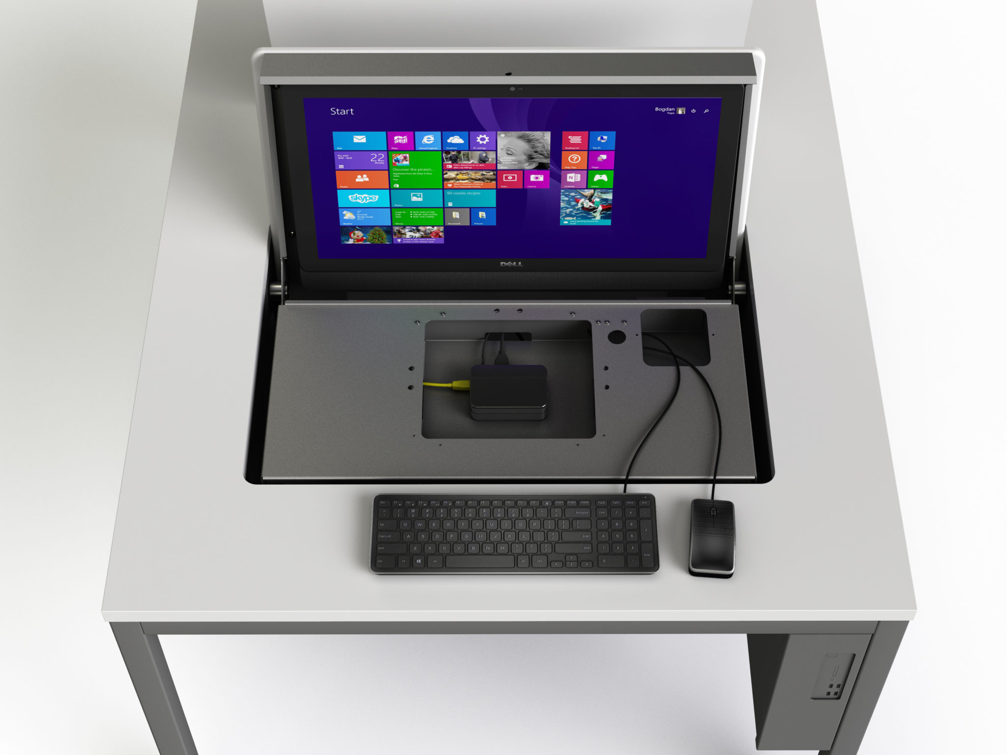 Flipscreen desk with detail view of Raspberry Pi housing