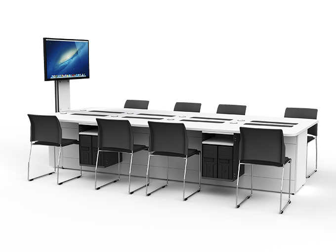 M1 collaborative table for active learning & TEAL spaces with monitors down