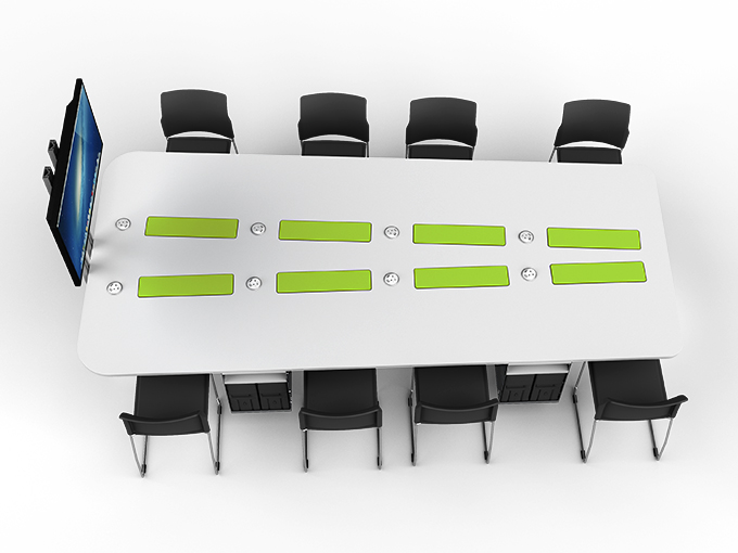 M1 collaborative table with hideaway monitiors