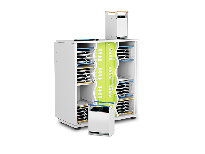 Static iPad charging cupboard station with carry baskets