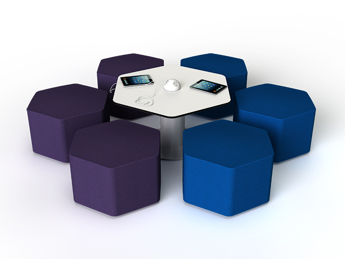 Hex shaped seats and hexagonal shape s41 table with Isis power dome