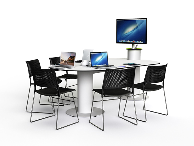 table for collaborative team working around a display screen