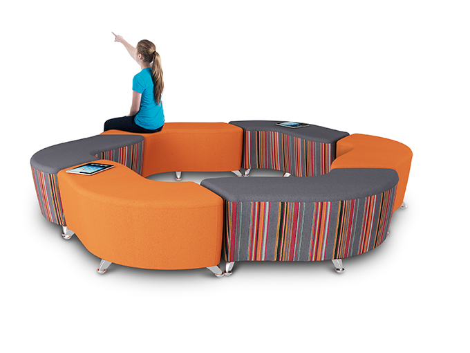 Modular wave shaped soft seating for HE FE Sixth form spaces